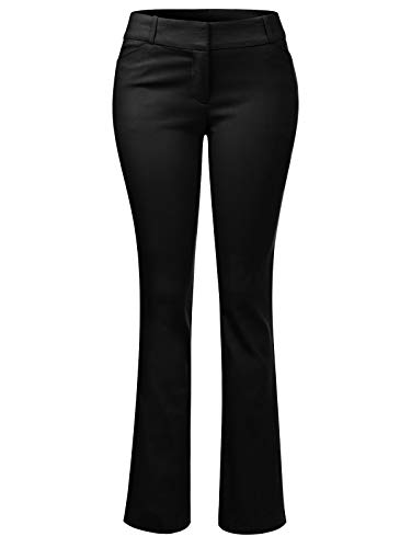 Design by Olivia Women's High Waist Comfy Stretchy Bootcut Trouser Pants Black S