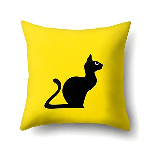 QPOWY Fodera per Cuscino Cartoon Cat Cuscini per divani Stampati UfficioFedereper CusciniFederaperCuscino in Poliestere per Arredamento 45 * 45