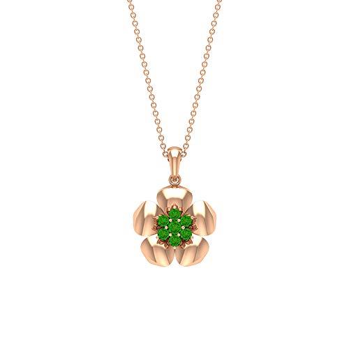 Rosec Jewels 18 quilates oro rosa redonda Green Creado en laboratorio de tsavorita