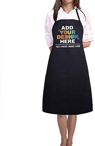 LAOKEAI Personalisiert Schürze Bedrucken mit Foto und Text deiner Wahl für Herren und Damen BBQ Kochen Backen Reinigung Werkstatt Bar(Schwarz)