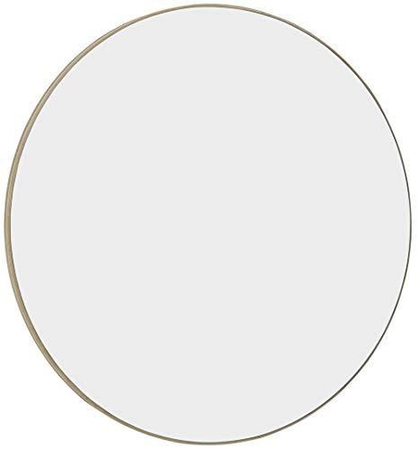 Hamilton Hills Contemporary Thin Natural Wood Edge Circular Wall Mirror   Glass Panel Rounded Circle Design Vanity Mirror (24' Round)