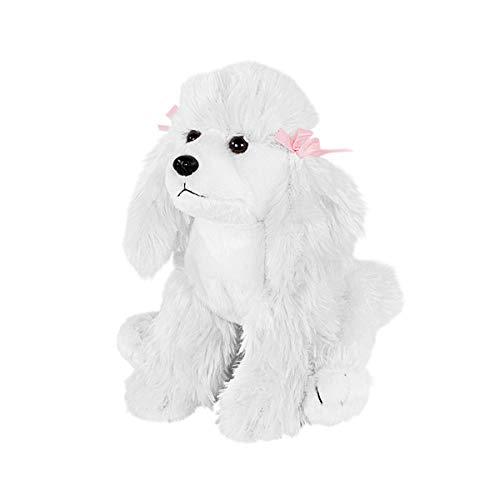 Teddys Rothenburg Kuscheltier Pudel sitzend weiß 27 cm mit Schleifen Plüschhund