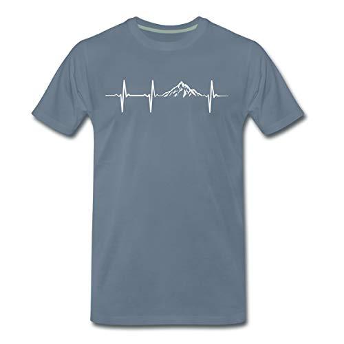 Herzschlag Puls Frequenz Berge EKG Männer Premium T-Shirt, S, Blaugrau