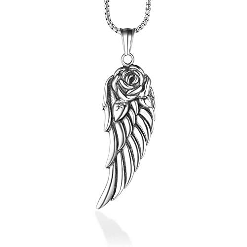 MINGDIAN Collar de Plumas Personalizado, Colgante de ángel de Campo de Batalla de Rosas, Accesorios de suéter para Mujer