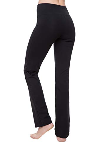 Yoga Pants for Women Best Black Leggings Straight Leg 28'/30'/32'/34' Inseam Length Regular & Plus Size (L, Black 30' Inseam)