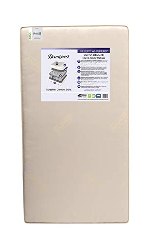 Beautyrest Beginnings Sleepy Whispers Ultra Deluxe 2-in-1 Innerspring Crib and Toddler Mattress ; Waterproof ; GREENGUARD Gold Certified ; Trusted Brand ; Made In the USA