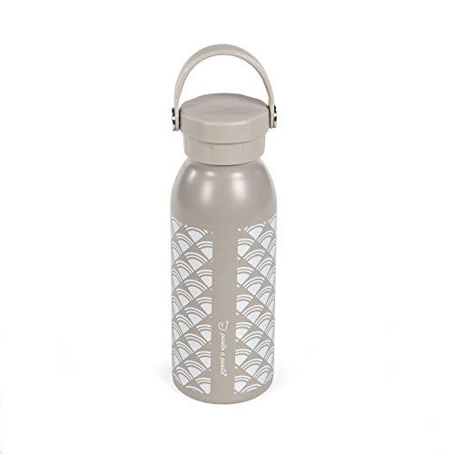Pasito a Pasito. Botella Térmica de 500 ml, Fabricada en Acero Inoxidable, Colección Paris. Termo Reutilizable de Doble Pared que Ayuda a Conservar la Temperatura. Color beige. Medida 7 x 25 x 7 cm.