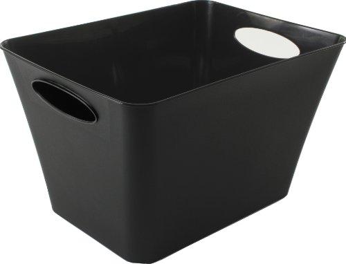 Rotho Living Aufbewahrungsbox 24 l, Kunststoff (PP), schwarz, 24 Liter (43,1 x 32,1 x 26 cm)