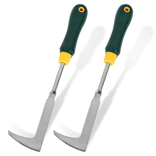 FengWu 2 Pack 13quot Crack Weeder LShape Crevice Weeding Tool with Garden Gloves Stainless Steel Manual Weeder Lawn Yard Gardening Hand Tool