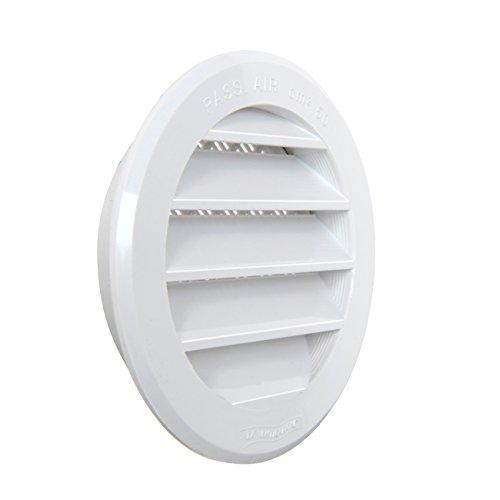La Ventilazione T8RB Griglia di Ventilazione in Plastica Tonda da Incasso, Bianco, diametro 96 mm