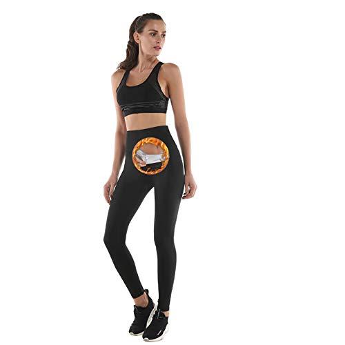 NHEIMA Fitness Hosen Damen mit Hohe Taille, Lange Running-Hosen für Damen, Sauna-&Schwitzeffekt Bauch und Taille abnehmen, Yogahosen sind ideal für Sport, Laufen, Yoga, Pilates, Training (M, Black)
