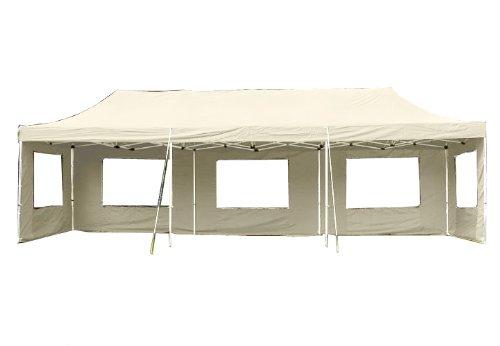 Nexos Profi Faltpavillon Partyzelt Pavillon 3x9 m mit Seitenteilen - hochwertige Ausführung - wasserdichtes Dach mit PVC-Coating - 270 g/m² incl. Tragetasche und Zubehör – Farbe: Champagner