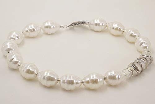 Mallorca Perlenkette, Halskette große Perlen in weiß, Einzelstück ausgefallen