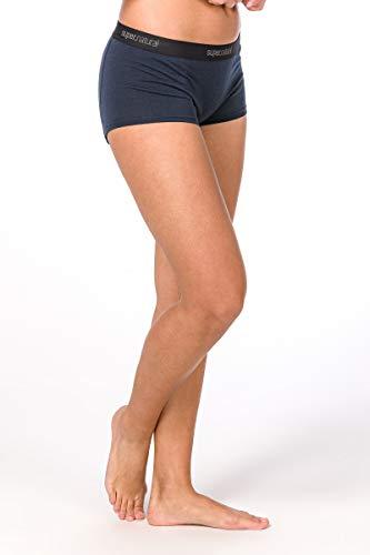 Super.natural Sous-vêtements Femme Moulants, Laine mérinos, W BASE BOYFRIEND HIPSTER 175, Taille: L, Couleur: Bleu foncé