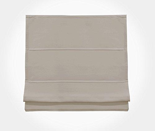 Rollmayer Raffrollo ohne Bohren Gardine SCHNURZUG Raffgardine Vorhang Rollo Faltrollo (Beige 7710/1874, 60x175(BxH), Decke/Wand)