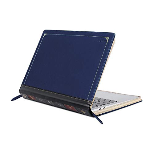 MOSISO PU Leather Sleeve Compatible with 2020-2018 MacBook Air 13 A2179 A1932/2020-2016 MacBook Pro 13 A2251 A2289 A2159 A1989 A1706 A1708, Vintage Classic Zippered Case Premium Book Cover, Navy Blue