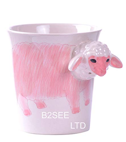 B2see - Taza de cerámica con diseño de oveja 3D