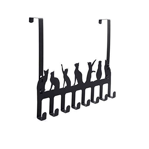 liumiKK Over The Door Hook Hanger 8 Hooks Hanger Storage Holder Hanging Coat Hat Towel Bag Ties Cat Design Organizer Rack