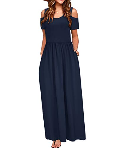 STYLEWORD Women's Summer Cold Shoulder Casual Maxi Long Dress with Pocket(Navy-456,L)