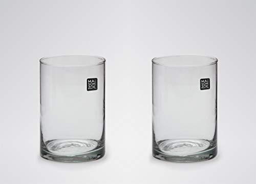 Maison Zoe Mundgeblasene und Handgefertigte Glasvase Zylinder Ø10cm - 2er Set - 15cm hoch - Blumenvase - Deko & Hochzeit
