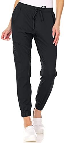 Mini Marilyn Scrub Joggers 4-Way Stretch Elastic Waistband Four Pocket Jogger Pants, Black, S