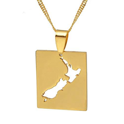 NSXLSCL Vrouwen Hanger Ketting, Mode Nieuw-Zeeland Kaart Hanger Kettingen Goud Kleur Nz Kaarten Sieraden Geschenken Valentijnsdag Vriendin Gift