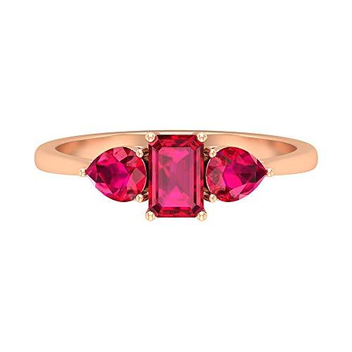 Anillo de compromiso Trinity, anillo de tres piedras de rubí de 1,35 quilates, anillo de rubí con forma de octágono de 6x4 mm, 14K Oro rosa, Size:EU 45