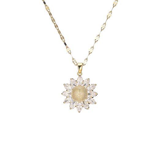 Conjunto de joyería de fiesta para mujer, collar de girasol con margaritas, pendientes de pulsera, collar con colgante hecho a mano de gota larga bohemio de resina(Diamond Necklace)