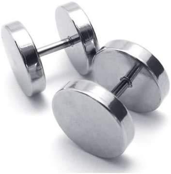 Par de pendientes pendientes de acero titanio para hombre y mujer, falso dilatador, color plateado 6 m