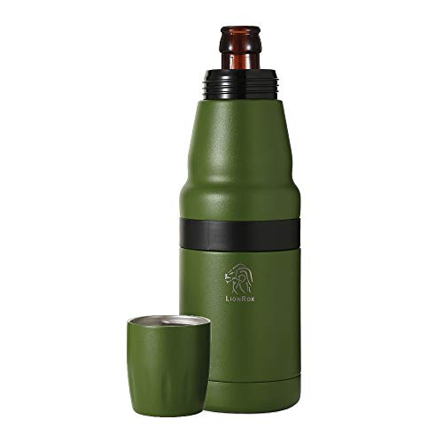 LionRox Chillax12 Beer Bottle Insulator Holder | Fully Vacuum Insulated Stainless Steel Double Walled Bottle and Can Cooler | Bottle and Can Keeper