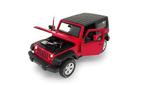 Jamara 405200 Street Kings Jeep Wrangler 1:32 Diecast rot – Rückzugmotor, Scheinwerfer/Rücklichter, realistischer Sound, Türen öffnen, detailgetreues Design