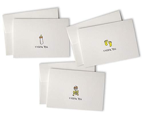 Baby-Dankeskarten mit Umschlägen, Set mit 48 Karten und Umschlägen, perfekt für Babypartys und Baby-Geschenke gelb