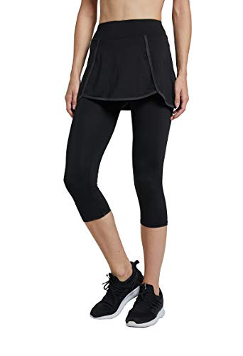 Westkun Donna Pantalone Capri Leggings con Gonna da Tennis Rock 3/4 Stampa Tessuto(Nero,s)