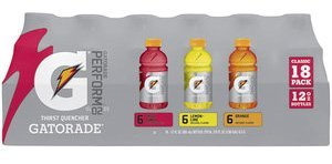 Gatorade Multipack 12 Fl Oz, (pack of 18 - 6 Lemon Lime, 6 Fruit Punch, 6 Orange)