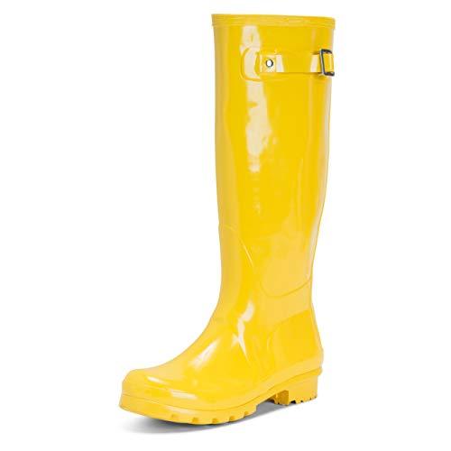 Botas de agua altas para mujer de color amarillo