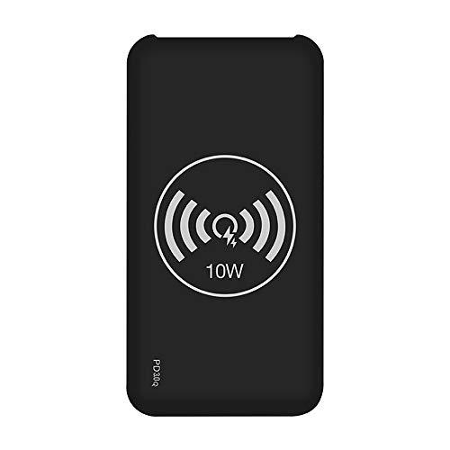 MYYING ELE Chargeur Rapide sans Fil, 10000mAh Portable Batterie Externe Power Bank avec Double Entrée & 3 Sortie et Lampe LED Compatible iPhone XS/XS Max/XR/X/8/8 Plus et Autre Qi Compatible, Black