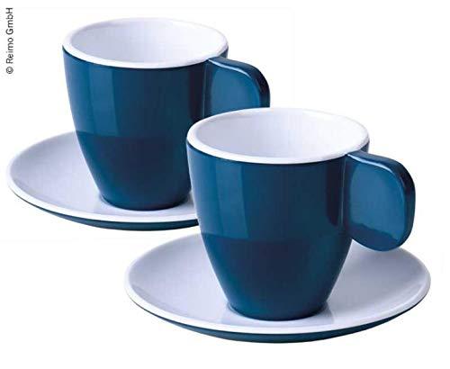 Camp4 Melamin Espresso-Tassen, 2er-Set, dunkelblau/weiß, 2Tassen+2Untertassen (9329930932)