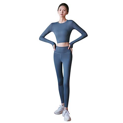 VESNIBA Chándal de deporte para mujer, chándal de 2 piezas, camiseta de manga larga + leggings push up