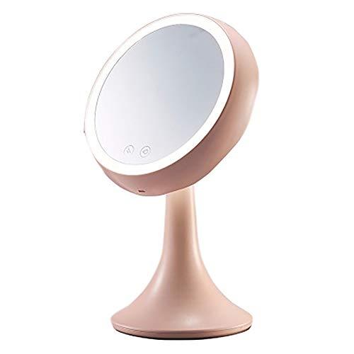 lyq make-up spiegel met verlichting professionele multifunctionele dubbele kant 360 ° rotatie touchscreen voor dame make-up en verlichting in de slaapkamer Europese stijl cosmetische spiegel reizen (2 kleuren)