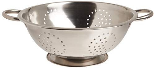 Home Basics Stainin Stainless Steel Deep Colander Strainer |Rust Proof | Kitchen Food Staining, Washing, Draining and Rinsing Pasta, Vegetables & Frui, 5 quart, Silver