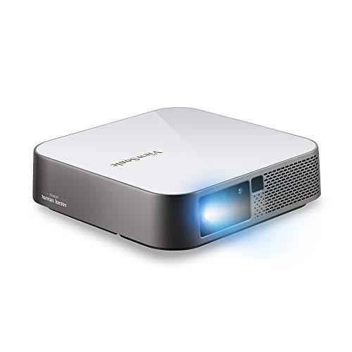 Viewsonic M2E Portabler LED Beamer (Full-HD, 1.000 Lumen, Rec. 709, HDMI, USB, USB-C, WLAN Konnektivität, Bluetooth, SD-Kartenleser, 2X 3 Watt Lautsprecher) Weiß-Silber