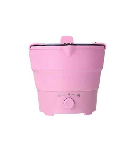 Folding elektrische koekenpan Kettle Portable Folding Hot Pot Electric Skillet Groentestomer Cooker Keuken kooktoestellen 800W, Green AQUILA1125 (Color : Pink)