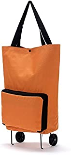 Large Capacity Thickened Canvas Lightweight Foldable Shopping Trolley Wheel Bag Solid Color Traval Cart Luggage Bag