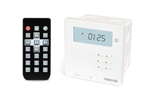 Fonestar WA-66R - Amplificatore da parete bianco ricevitore BT 2.1 2 x 10 W FM USB MicroSD schermo scatola da incasso telecomando a distanza