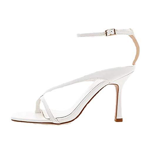 KIMIGAGA Mujer Moda Tacón Alto Sandalias Verano Dedo del pie Zapatos Vestido White Talla 36 Asiática