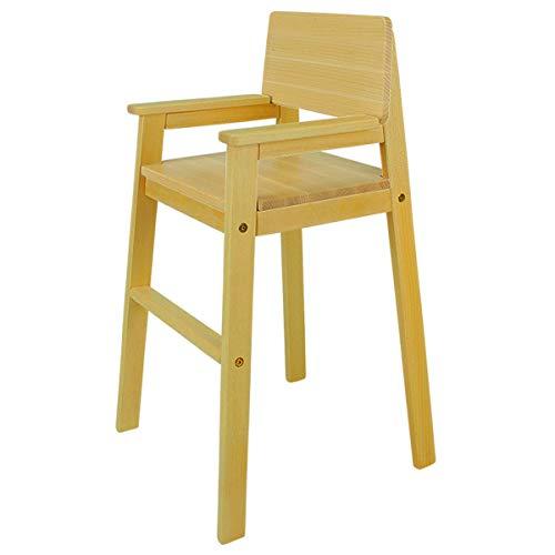 Trona infantil de madera maciza de haya, color nogal, para mesa de comedor, silla alta para niños, estable y fácil de limpiar, muchos colores posibles.