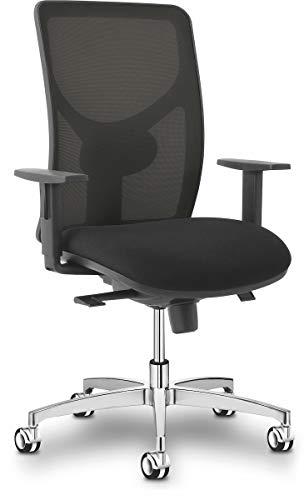 Sitland Sit 1 Bureaustoel - Zwarte Mesh Rugleuning - Zwarte Stoffen Zitting - Chroom Onderstel