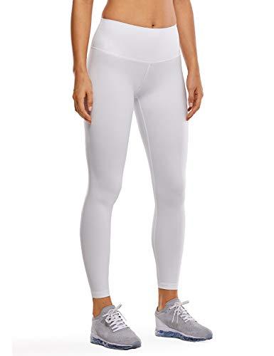 CRZ YOGA Mujer Mallas Largos Leggings Deportivos Cintura Alta con Bolsillo-63cm Blanco 40