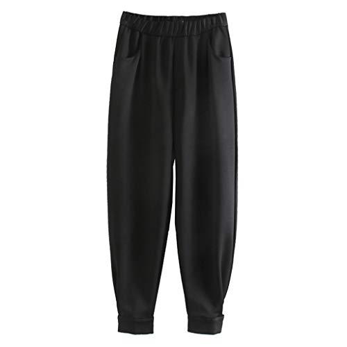 PengBO Estilo de Mujer Elástico Alto Cintura Sólido Color Solido Pantalones Diseño Casual Pantalones de Jogging Pantalones Solos Pantalones De Pantalones,Negro,L