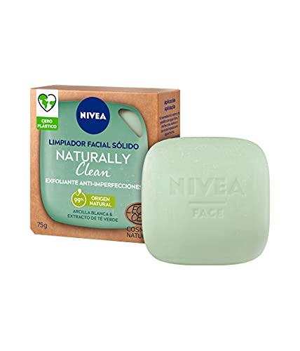 NIVEA Naturally Clean Exfoliante Facial Sólido Anti-imperfecciones1 x 75 g, limpiador facial 99% de origen natural, pastilla limpiadora enriquecida con arcilla blanca